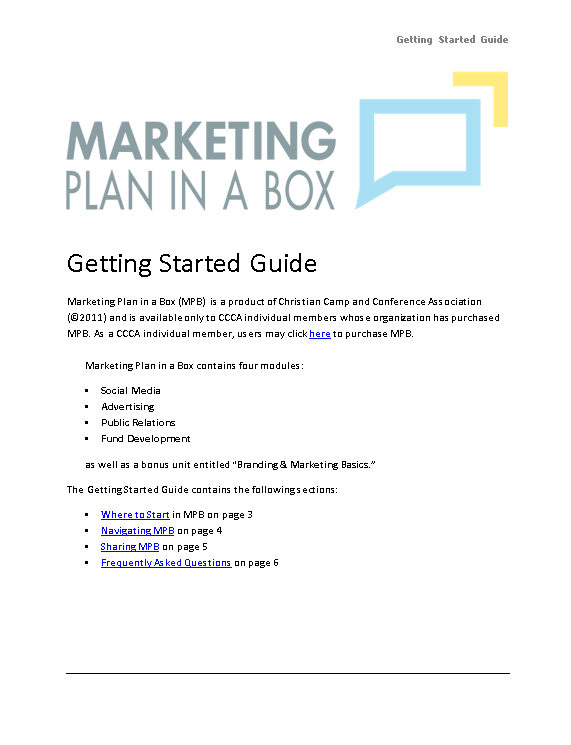 Christian Camp and Conference Association - Marketing Plan in a Box